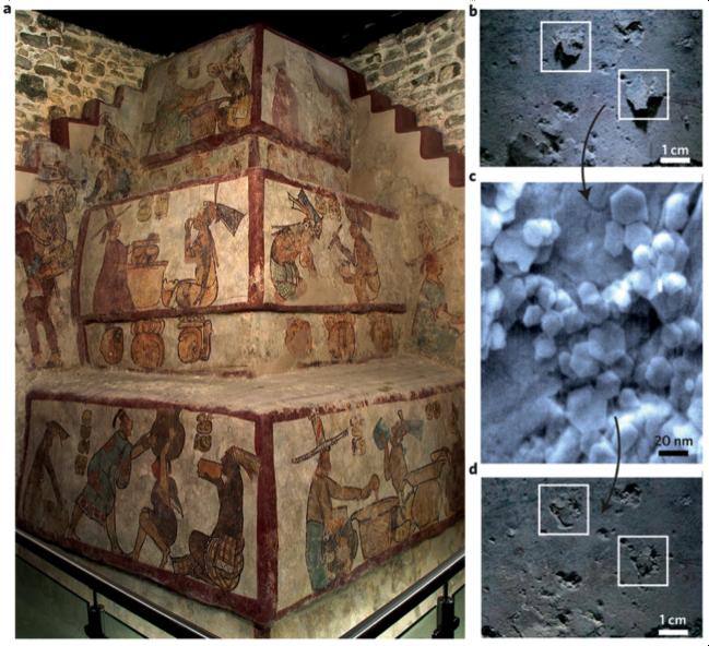 Restauración de murales mayas utilizando nanopartículas de Ca(OH)2 en el patrimonio mundial de UNESCO en Calakmul, México.
