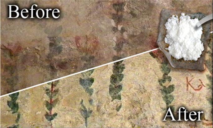 Ejemplo de restauración de pintura de la Basílica de la Anunciación en Nazaret